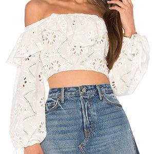 Revolve x For Love and Lemons Eyelet Pirate Top